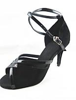 Для женщин Латина Флис Сандалии Концертная обувь Крест-накрест На шпильке Черный 7,5 - 9,5 см Персонализируемая
