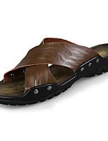Men's Slippers & Flip-Flops Comfort Light Soles Real Leather Summer Casual Comfort Light Soles Flat Heel Dark Brown Black White Flat