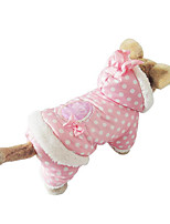 Dog Hoodie Dog Clothes Casual/Daily Polka Dots Beige Blushing Pink