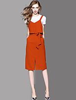 Manches Ajustées Robes Costumes Femme,Couleur Pleine Quotidien Décontracté simple Décontracté Actif Printemps Eté Automne Manches Courtes