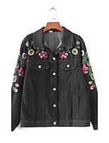 Feminino Jaqueta jeans Para Noite Casual Moda de Rua Primavera Outono,Sólido Estampado Padrão Algodão Outros Colarinho de CamisaManga