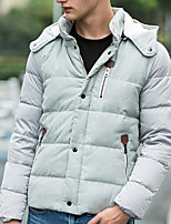 Men's Regular Down Coat,Simple Daily Solid-Others White Duck Down Long Sleeve
