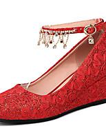 Women's Heels Comfort Gladiator Summer Fall Leatherette Wedding Wedge Heel White Ruby 2in-2 3/4in