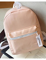 Women Shoulder Bag PU Canvas All Seasons Casual Outdoor Round Zipper Blushing Pink Silver Black
