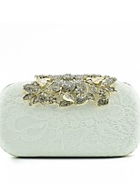 Women Evening Bag Silk Spring/Fall All Seasons Wedding Event/Party Casual Formal Outdoor Office & Career Baguette Lace Clasp Lock White