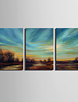 Mini Size E-HOME Oil painting Modern Bucolic Scene Pure Hand Draw Frameless Decorative Painting  Set of 3