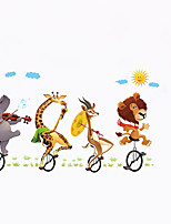 Cartoon Giraffe Bull Lion Cycling Wall Stickers Animals Playing Guitar Trip Cloud Wall Decals Home Decor For Baby Kids Room Living Room