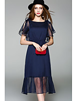 WHALE STUDIO Women's Going out Casual/Daily Cute Chiffon DressSolid Round Neck Midi Half Sleeve Polyester Spring Summer Mid Rise Micro-elastic Medium