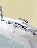 Contemporary  Waterfall Handshower Included with Three Handles Five Holes for  Chrome  Bathtub Mixer Faucet