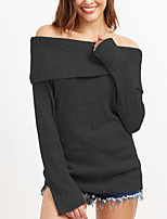 Women's Shopping Daily Casual Sexy Simple Street chic Spring Fall T-shirtSolid Simple Backless All Match Off Shoulder Boat Neck Long Sleeve Medium