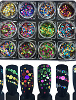 12PCS Color Circular Laser Sequins Suit