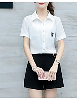 Women's Casual/Daily Simple Summer T-shirt Pant Suits,Solid Shirt Collar Short Sleeve