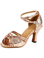 Women's Latin Synthetic Heels Professional Flower Pattern/Print Chunky Heel Gold 2