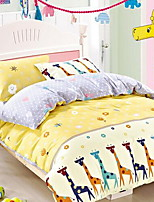 Cartoon 4 Piece Polyurethane fibre Cotton Polyurethane fibre Cotton 1pc Duvet Cover 2pcs Shams 1pc Flat Sheet