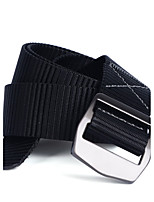 Men's Alloy Outdoor Waist Belt Casual/Business Solid Pure Color Nylon Canvas Belt Black/Grey/Army Green