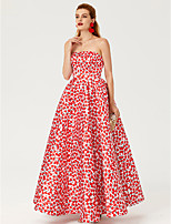 TS Couture Formal Evening Dress - Open Back Pattern Dress Celebrity Style Ball Gown Strapless Ankle Length Satin with Pattern / Print
