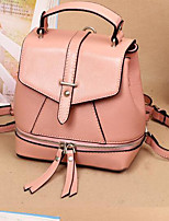 Women Backpack Cowhide All Seasons Casual Round Zipper Blushing Pink Red Black 10-20