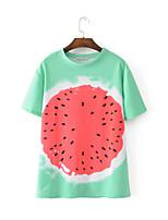 Tee-shirt Femme,Imprimé Sortie Décontracté / Quotidien Sexy simple Chic de Rue Eté Manches Courtes Col Arrondi Coton Fin Moyen