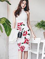 Для женщин Повседневные Лето Tank Top Платья Костюмы Хальтер,Современный Цветочный принт С принтом Без рукавов