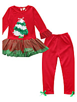 Girls' Floral SetsCotton All Seasons Long Sleeve Christmas Clothing Set