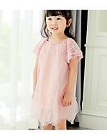 Девичий Платье Хлопок Однотонный Лето С короткими рукавами