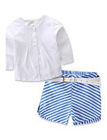 Mädchen Sets Modisch Streifen Einheitliche Farbe Baumwolle Polyester Frühling/Herbst Sommer Kurze Hose Kleidungs Set