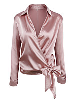 Для женщин На каждый день Все сезоны Рубашка Рубашечный воротник,Уличный стиль Однотонный Длинный рукав,Искусственный шёлк Полиэстер,