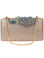 Women Evening Bag Polyester All Seasons Wedding Event/Party Formal Minaudiere Rhinestone Clasp Lock Pinky Black Gold Champagne Blue