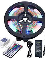 Hkv® 5m imperméable à l'eau 3528 rgb 300led rgb strip light 44key ir télécommande 5a alimentation 100-240v