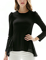 Women's Going out Work Simple Sophisticated All Seasons T-shirt,Solid Round Neck Long Sleeve Rayon