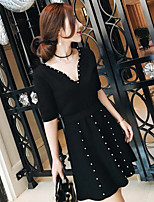 Women's Going out Simple Spring T-shirt Skirt Suits,Solid V Neck ½ Length Sleeve Beaded Micro-elastic