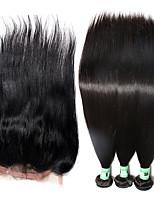 Trame cheveux avec fermeture Cheveux Brésiliens Droit 12 mois 4 Pièces tissages de cheveux