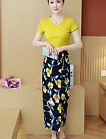 Women's Daily Modern/Comtemporary Summer T-shirt Skirt Suits,Floral Print Round Neck Short Sleeve