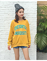 Women's Daily Sweatshirt Solid Quotes & Sayings Round Neck Micro-elastic Cotton Long Sleeve Fall