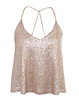 Women's Going out Casual/Daily Sexy Simple Street chic All Seasons Tank Top,Solid U Neck Sleeveless Sequin Medium
