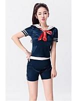 Fantasias para Cheerleader Roupa Mulheres Apresentação Poliéster De Amarrar 2 Peças Manga Curta Alto Blusas Calções