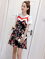 Women's Daily Casual Chic & Modern Summer T-shirt Dress Suits,Print Round Neck Short Sleeve Micro-elastic