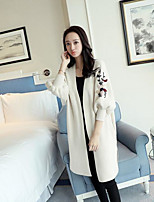 Women's Casual/Daily Simple Long Cardigan,Solid Cowl Long Sleeve Cotton Fall Medium Micro-elastic