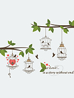 Wall Stickers Wall Decas Style Tree - Branch Cage Bird Lover PVC Wall Stickers