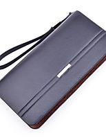Men Checkbook Wallet PU Polyester All Seasons Event/Party Daily Casual Rectangle Zipper Black Coffee Dark Coffee