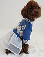 Dog Dress Dog Clothes Party Casual/Daily Birthday Holiday Cosplay Cowboy Fashion Sports Wedding Halloween Christmas New Year's Solid Blue