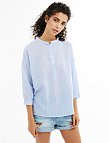 Women's Birthday Party Going out Casual/Daily Simple Spring Summer Shirt,Striped Stand 3/4 Length Sleeve Cotton Medium