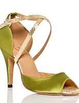 Для женщин Танцевальные кроссовки Полиуретан Сандалии Кроссовки Для открытой площадки На толстом каблуке Зеленый 5 - 6,8 см