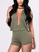 Women's Going out Casual/Daily Club Sexy Simple Street chic Criss Cross Sport Tank Top Pant SuitsColor Block Deep V Sleeveless Cut Out strenchy