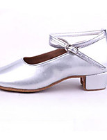 Women's Latin PU Patent Leather Flats Heels Practice Silver Gold