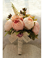 Peony Bridal Bridesmaid Bouquets Artificial Pink Rose Silk Flowers Bouquet Home Wedding Decoration