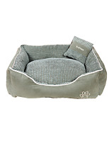 Cat Dog Bed Pet Baskets Plaid/Check Keep Warm Soft Coffee Green Khaki