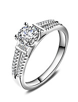Women's Ring  Classic Elegant Silver AA Cubic Zirconia Ring Jewelry For Wedding Anniversary Party/Evening Engagement Daily