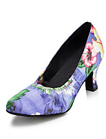 Women's Latin Satin Heels Indoor Animal Print Pattern/Print Chunky Heel Purple 2