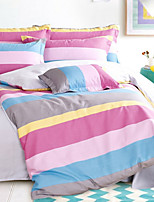 Duvet Cover Sets Stripe 4 Piece Reactive Print 1pc Duvet Cover 2pcs Shams 1pc Flat Sheet